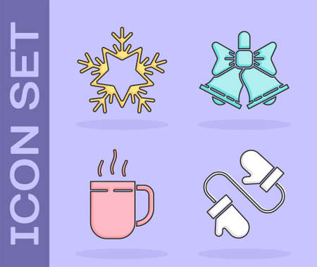 Set Pair of knitted christmas mittens, Snowflake, Coffee cup and Merry Christmas ringing bell icon. Vector Illusztráció