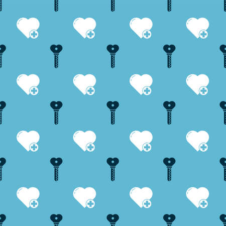Set Key in heart shape and Heart on seamless pattern. Vector