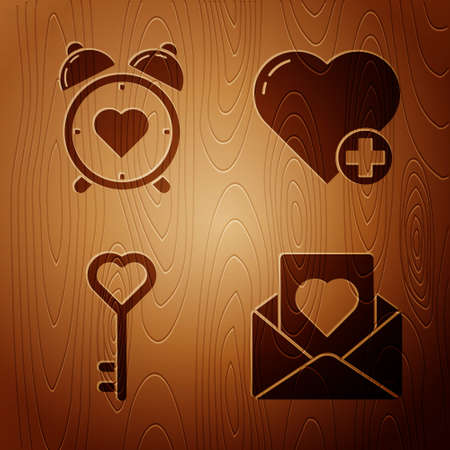 Set Envelope with heart, Heart in the center alarm clock, Key in heart shape and Heart on wooden background. Vector