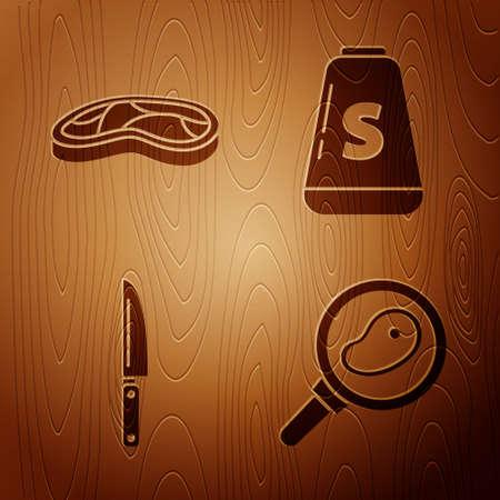 Set Steak meat in frying pan, Steak meat, Knife and Salt on wooden background. Vector