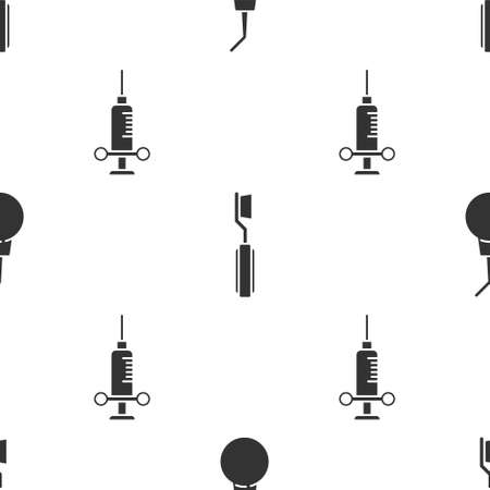 Set Enema pear, Toothbrush and Dental medical syringe on seamless pattern. Vector