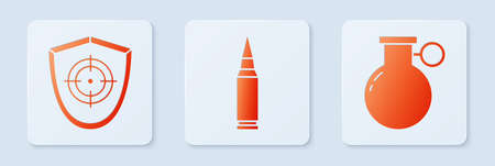 Set Bullet, Target sport and Hand grenade. White square button. Vector Vettoriali