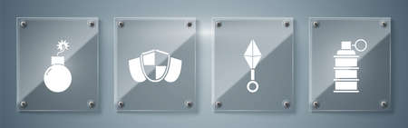 Set Hand grenade, Japanese ninja shuriken, Shield and Bomb ready to explode. Square glass panels. Vector