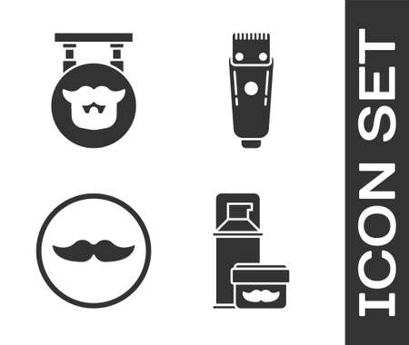 Set Shaving gel foam, Barbershop, Mustache and Electrical hair clipper or shaver icon. Vector  イラスト・ベクター素材