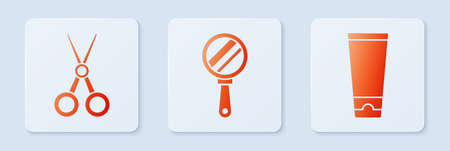 Set Hand mirror, Scissors hairdresser and Cream or lotion cosmetic tube. White square button. Vector