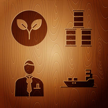 Set Oil tanker ship, Bio fuel, Businessman or stock market trader and Barrel oil on wooden background. Vector