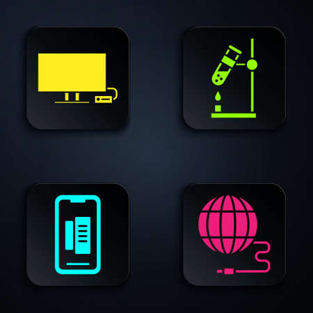 Set Social network, Smart Tv, Smartphone, mobile phone and Test tube flask on fire. Black square button. Vector