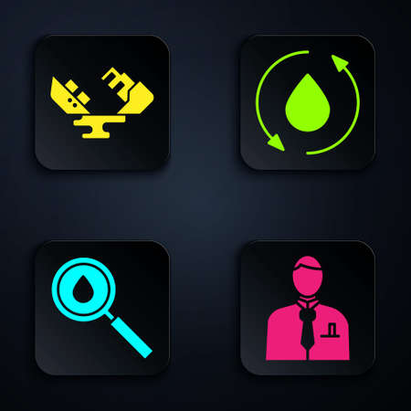 Set Businessman or stock market trader, Wrecked oil tanker ship, Oil drop and Oil drop. Black square button. Vector
