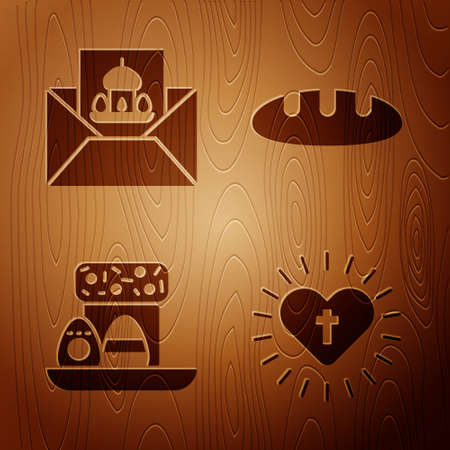 Set Christian cross and heart, Greeting card with Happy Easter, Easter cake and eggs and Bread loaf on wooden background. Vector