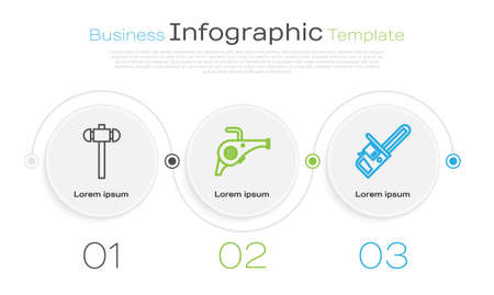 Set line Sledgehammer, Leaf garden blower and Chainsaw. Business infographic template. Vector Ilustracja