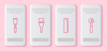 Set line Putty knife, Paint brush, Ruler and Adjustable wrench. White rectangle button. Vector