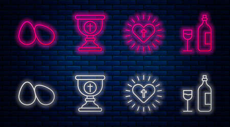 Set line Christian chalice, Christian cross and heart, Easter eggs and Wine bottle with glass. Glowing neon icon on brick wall. Vector
