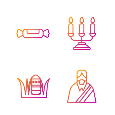 Set line Jesus Christ, Easter egg, Candy and Candelabrum with candlesticks. Gradient color icons. Vector