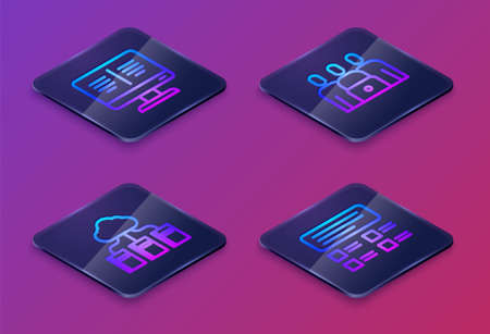 Set Isometric line Online book on monitor, Cloud online library, class and quiz, test, survey. Blue square button. Vector Ilustrace