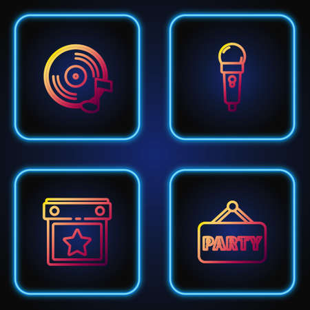 Set line Signboard party, Calendar, Vinyl disk and Microphone. Gradient color icons. Vector