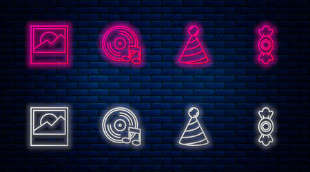 Set line Vinyl disk, Party hat, Photo and Candy. Glowing neon icon on brick wall. Vector