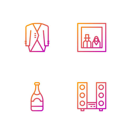Set line Home stereo with two speakers, Champagne bottle, Suit and Family photo. Gradient color icons. Vector
