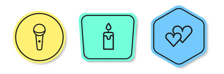 Set line Microphone, Burning candle and Heart. Colored shapes. Vector