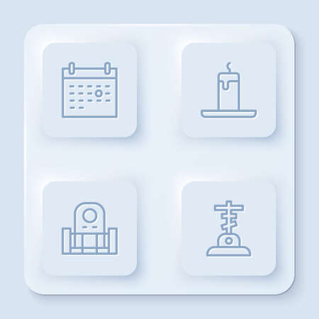 Set line Calendar death, Burning candle, Grave with tombstone and cross. White square button. Vector