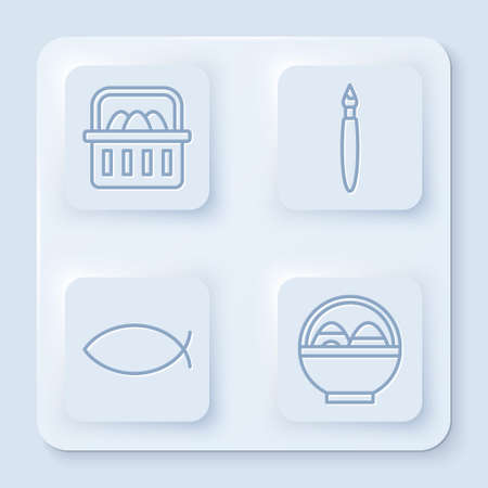 Set line Basket with easter eggs, Paint brush, Christian fish and Basket with easter eggs. White square button. Vector.