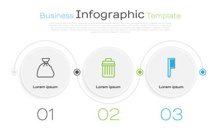 Set line Garbage bag, Trash can and Hairbrush. Business infographic template. Vector.