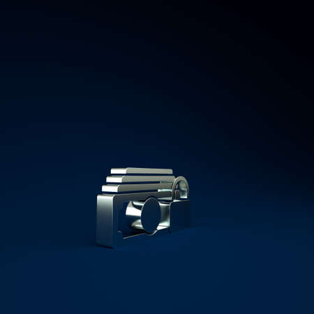 Silver Money with lock icon isolated on blue background. Locked money. Security, safety, protection concept. Concept of a safe payment. Minimalism concept. 3d illustration 3D render