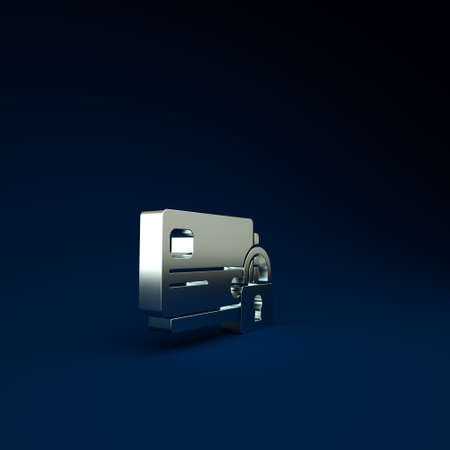 Silver Credit card with lock icon isolated on blue background. Locked bank card. Security, safety, protection concept. Concept of a safe payment. Minimalism concept. 3d illustration 3D render