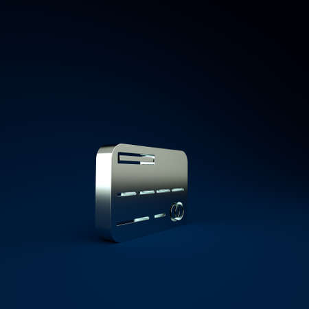 Silver Credit card icon isolated on blue background. Online payment. Cash withdrawal. Financial operations. Shopping sign. Minimalism concept. 3d illustration 3D render