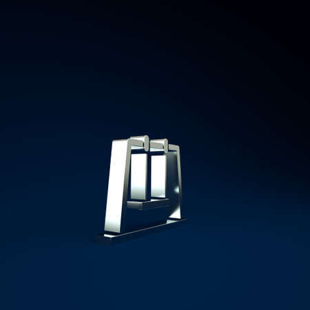 Silver Swing icon isolated on blue background. Playground symbol. Minimalism concept. 3d illustration 3D render