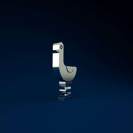 Silver Riding kid duck icon isolated on blue background. Minimalism concept. 3d illustration 3D render 免版税图像