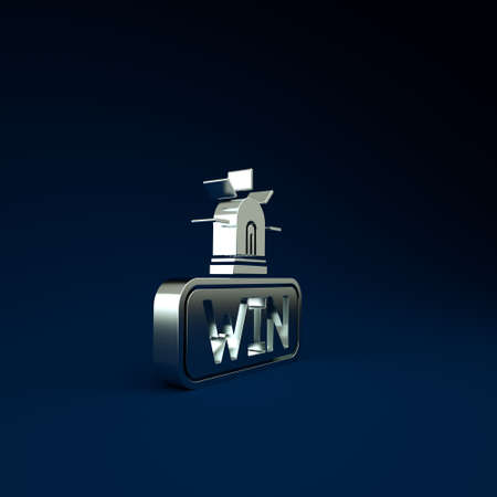 Silver Casino win icon isolated on blue background. Minimalism concept. 3d illustration 3D render 免版税图像
