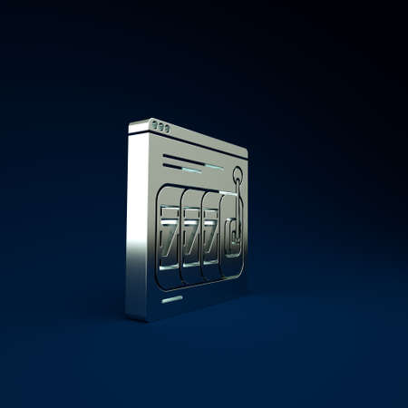 Silver Online slot machine with lucky sevens jackpot icon isolated on blue background. Online casino. Minimalism concept. 3d illustration 3D render 免版税图像