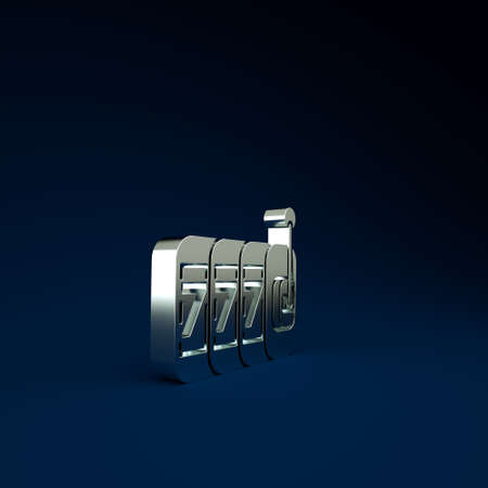 Silver Slot machine with lucky sevens jackpot icon isolated on blue background. Minimalism concept. 3d illustration 3D render