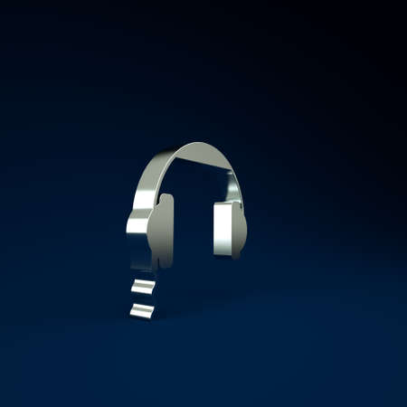 Silver Headphones icon isolated on blue background. Earphones sign. Concept for listening to music, service, communication and operator. Minimalism concept. 3d illustration 3D render 版權商用圖片
