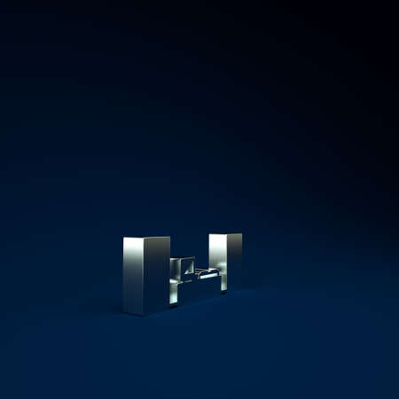 Silver Home stereo with two speaker s icon isolated on blue background. Music system. Minimalism concept. 3d illustration 3D render 版權商用圖片