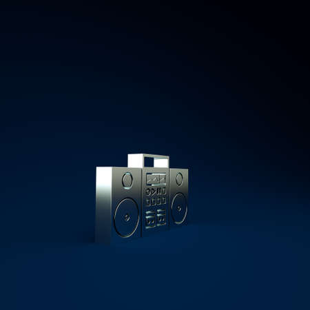 Silver Home stereo with two speakers icon isolated on blue background. Music system. Minimalism concept. 3d illustration 3D render