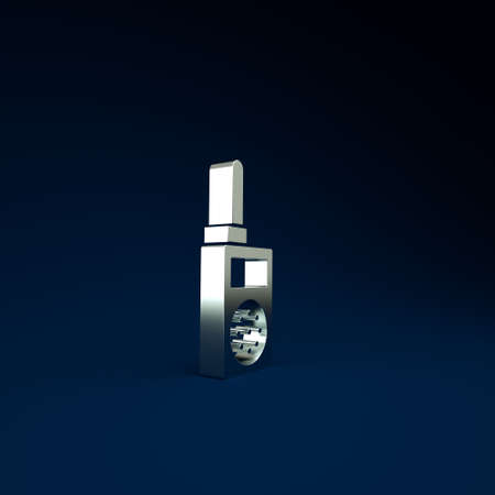 Silver Walkie talkie icon isolated on blue background. Portable radio transmitter icon. Radio transceiver sign. Minimalism concept. 3d illustration 3D render 版權商用圖片