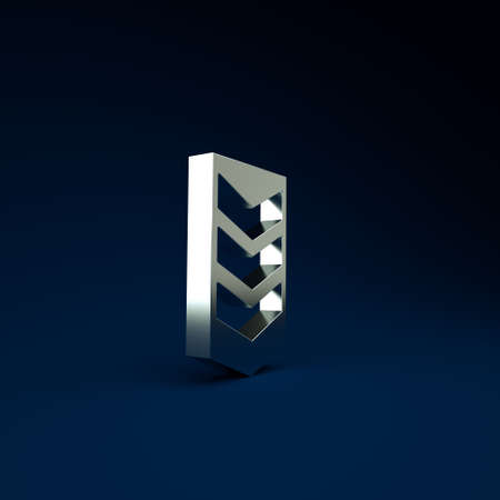 Silver Military rank icon isolated on blue background. Military badge sign. Minimalism concept. 3d illustration 3D render 免版税图像