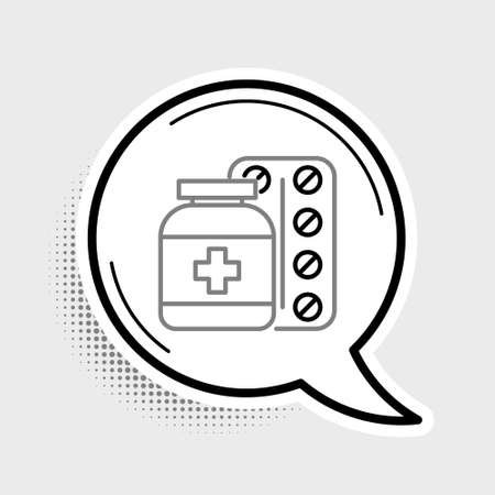 Line Medicine bottle and pills icon isolated on grey background. Bottle pill sign. Pharmacy design. Colorful outline concept. Vector 向量圖像