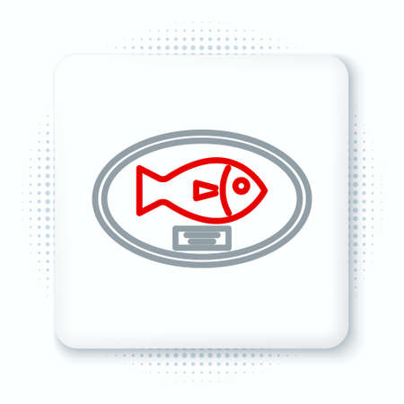 Line Fish trophy hanging on the board icon isolated on white background. Fishing trophy on wall. Colorful outline concept. Vector