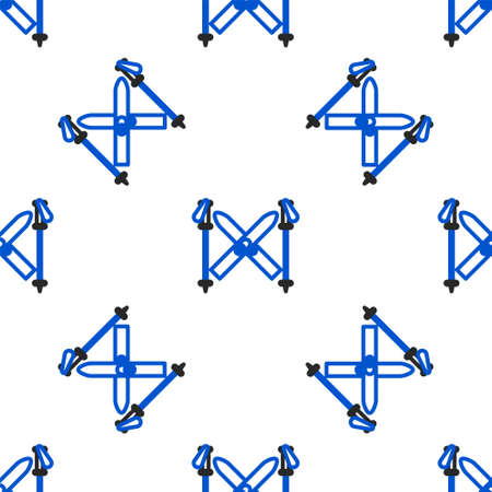 Line Ski and sticks icon isolated seamless pattern on white background. Extreme sport. Skiing equipment. Winter sports icon. Colorful outline concept. Vector