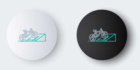Line Bicycle on street ramp icon isolated on grey background. Skate park. Extreme sport. Sport equipment. Colorful outline concept. Vector