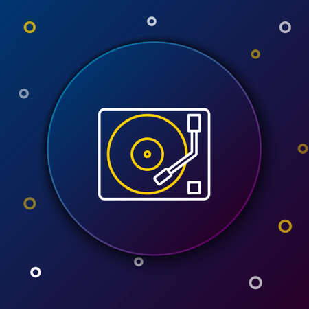 Line Vinyl player with a vinyl disk icon isolated on blue background. Colorful outline concept. Vector