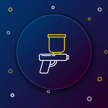 Line Paint spray gun icon isolated on blue background. Colorful outline concept. Vector Ilustração