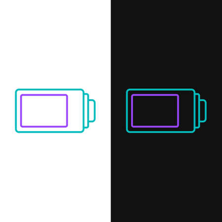 Line Battery charge level indicator icon isolated on white and black background. Colorful outline concept. Vector
