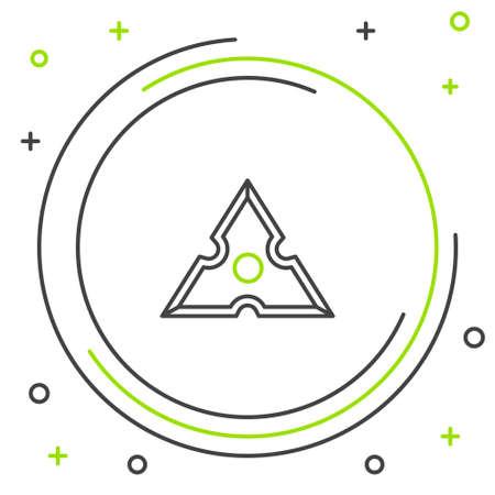 Line Japanese ninja shuriken icon isolated on white background. Colorful outline concept. Vector Ilustração Vetorial