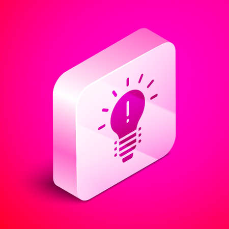 Isometric Light bulb with concept of idea icon isolated on pink background. Energy and idea symbol. Inspiration concept. Silver square button. Vector Illustration