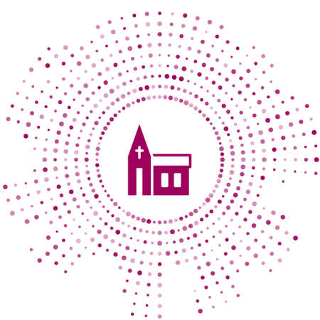 Purple Church building icon isolated on white background. Christian Church. Religion of church. Abstract circle random dots. Vector Çizim