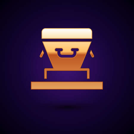 Gold Coffin icon isolated on black background. Funeral ceremony. Vector