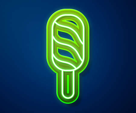 Glowing neon line Ice cream icon isolated on blue background. Sweet symbol. Vector